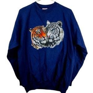 Vintage hanes Large blue Tigers graphic sweatshirt